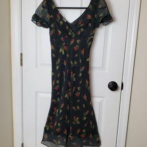 Black Short Sleeves Floral Dress